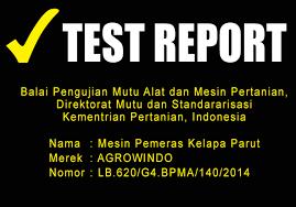 test report maksindo.org  Mesin Pemeras Santan Manual dan Listrik