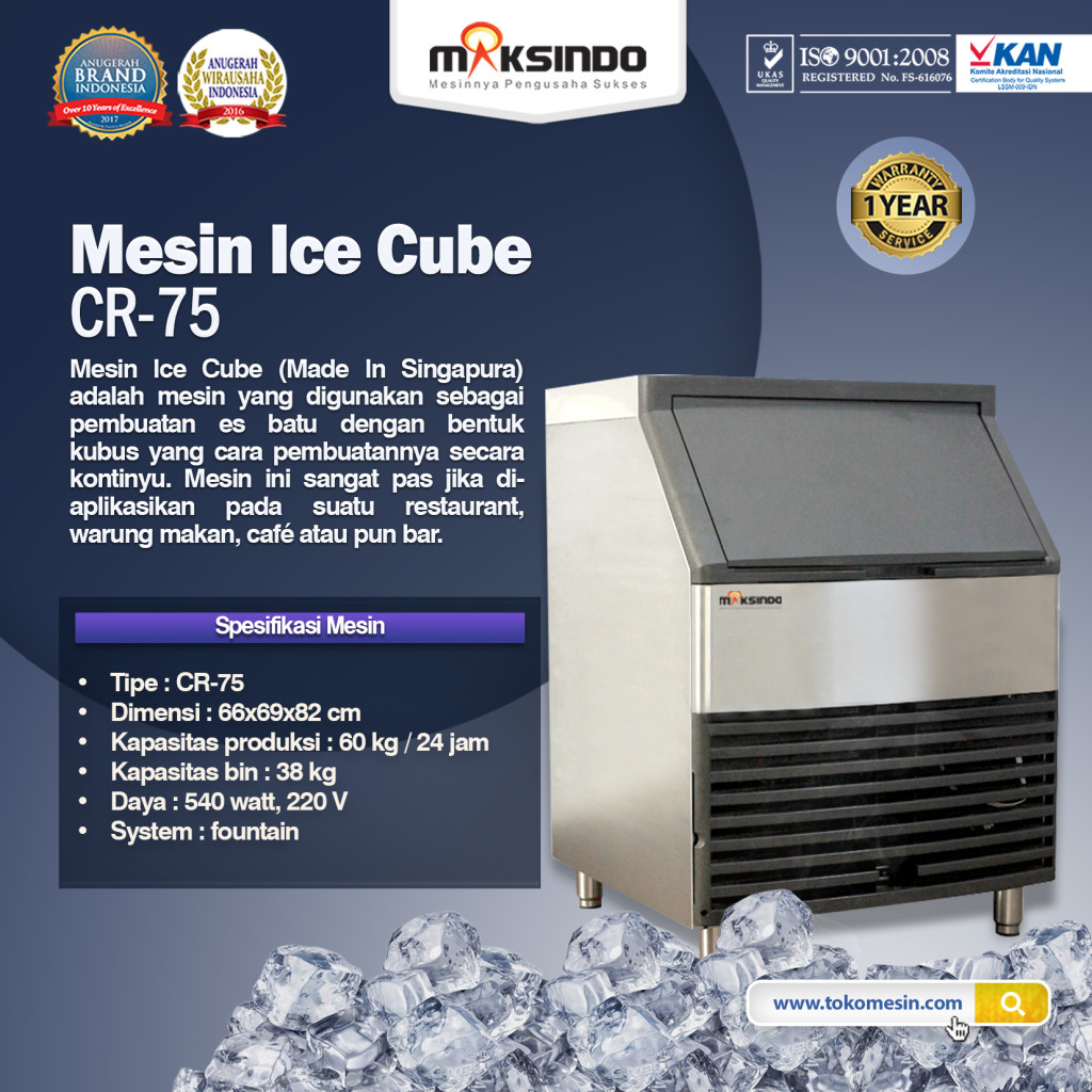 Mesin Ice Cube CR 75 1024x1024 Mesin Pembuat Es Batu (Ice Cuber Machine)