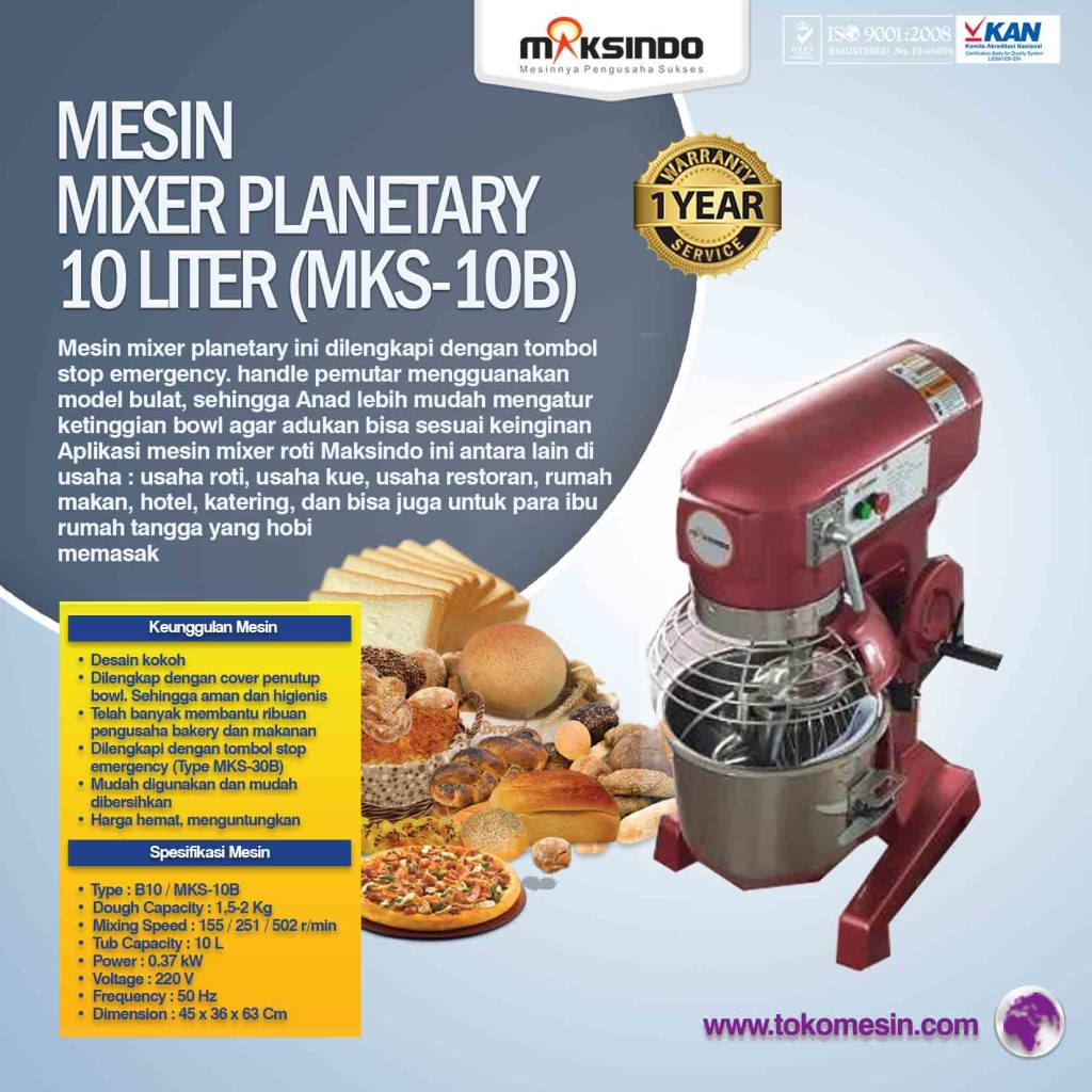 Mesin Mixer Planetary 10 Liter MKS 10B 1024x1024 Mesin Mixer Roti Planetary