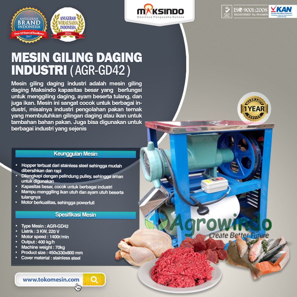 Mesin Giling Daging Industri AGR GD42 1024x1024 Mesin Giling Daging Industri (AGR GD42)