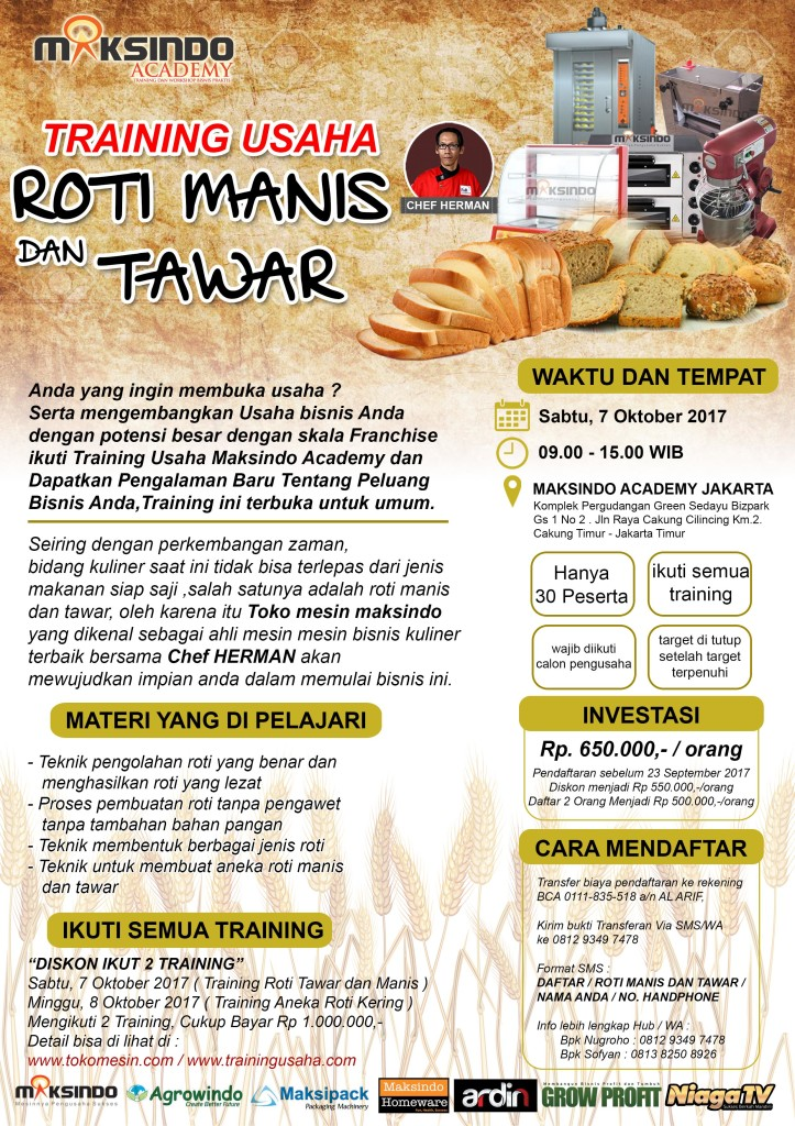 brousur roti tawar dan manis 723x1024 Training Usaha Roti Manis dan Tawar, 7 Oktober 2017