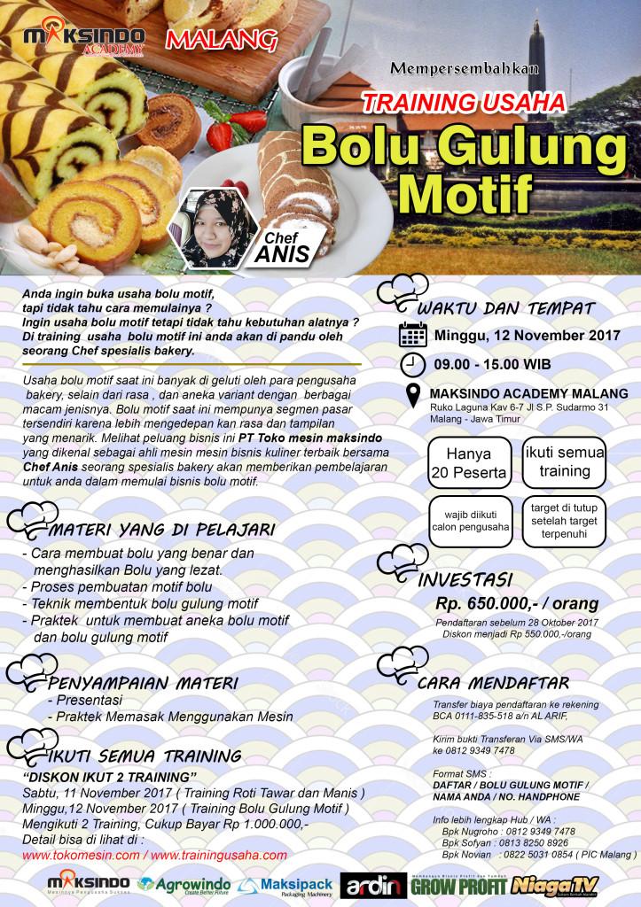 brousur bolu gulung malang 723x1024 Training Usaha Bolu Gulung Motif, 12 November 2017